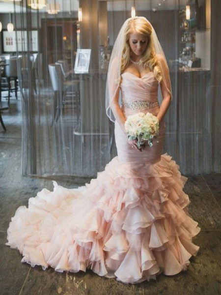Trumpet/Mermaid Sweetheart Court Train Ruffles Organza Sleeveless Wedding Dresses