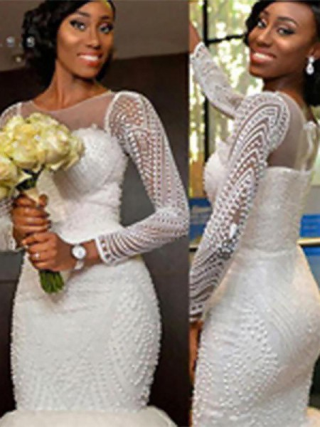 Trumpet/Mermaid Long Sleeves Tulle Scoop Sweep/Brush Train Beading Wedding Dresses