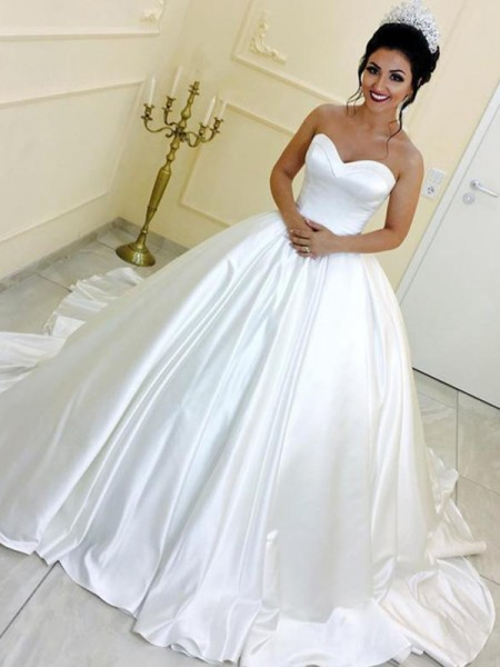 Ball Gown Sweetheart Satin Sleeveless Sash/Ribbon/Belt Cathedral Train Wedding Dresses