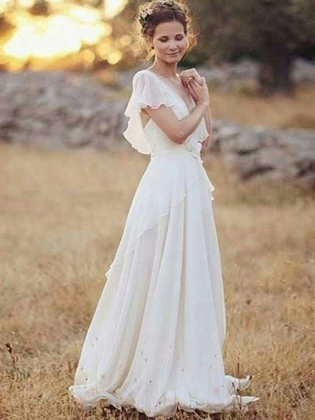 A-Line/Princess Chiffon V-neck Ruched Short Sleeves Floor-Length Wedding Dresses