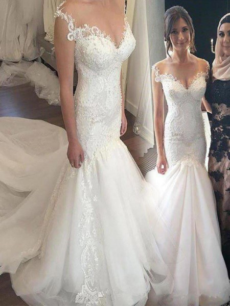 Trumpet/Mermaid Tulle Applique Off-the-Shoulder Sleeveless Chapel Train Wedding Dresses