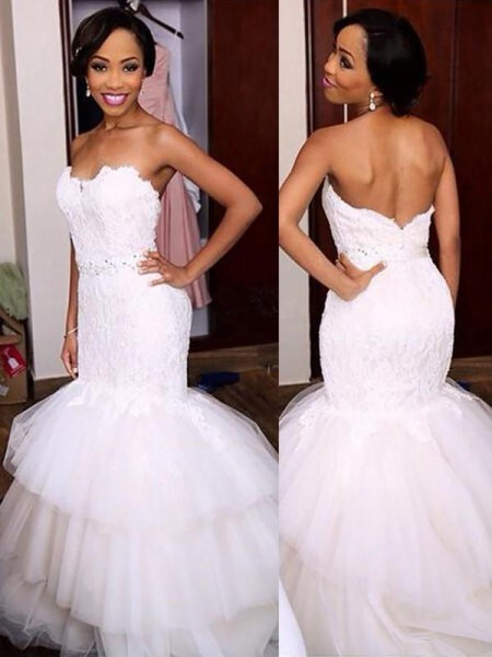 Trumpet/Mermaid Beading Tulle Sweetheart Sleeveless Sweep/Brush Train Wedding Dresses