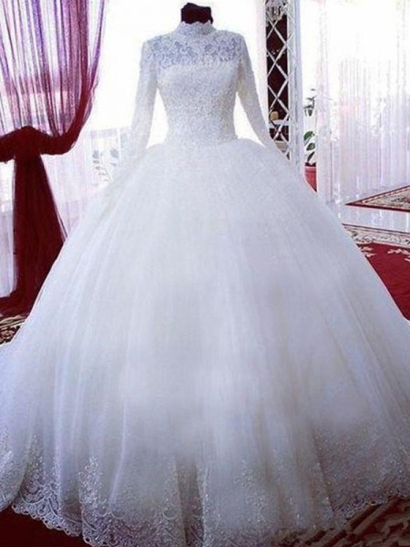 Ball Gown Lace Tulle High Neck Long Sleeves Chapel Train Wedding Dresses