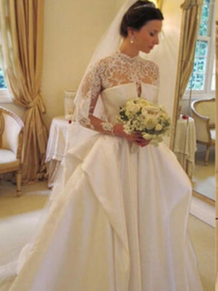 Ball Gown Satin Lace High Neck Long Sleeves Chapel Train Wedding Dresses