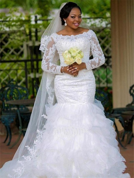 Trumpet/Mermaid Square Applique Organza Long Sleeves Chapel Train Wedding Dresses