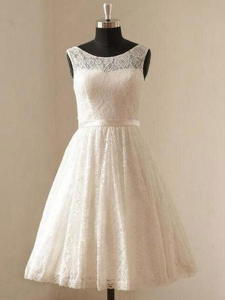 A-Line/Princess Scoop Lace Sleeveless Sash/Ribbon/Belt Knee-Length Wedding Dresses