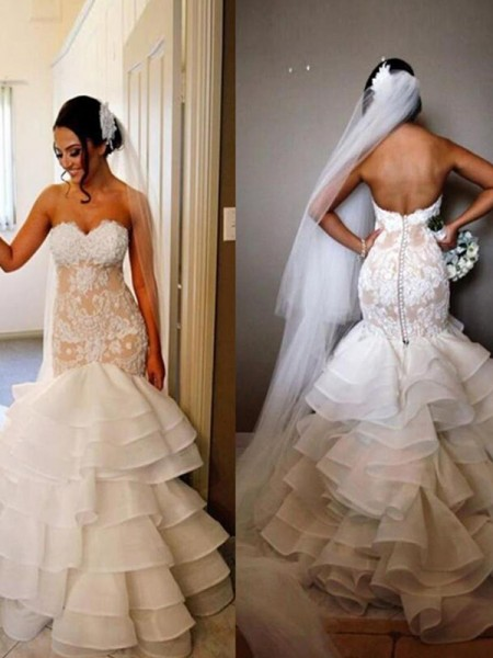 Trumpet/Mermaid Tulle Sleeveless Applique Sweetheart Sweep/Brush Train Wedding Dresses