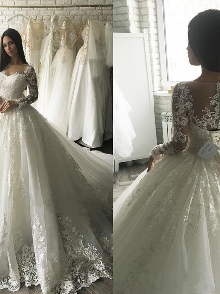 Ball Gown Tulle Scoop Long Sleeves Applique Court Train Wedding Dresses