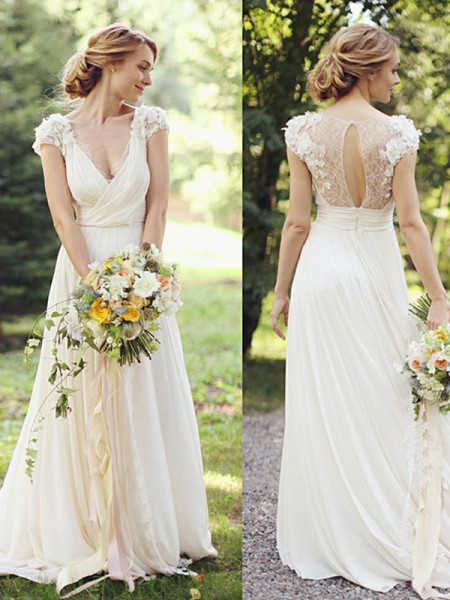 A-Line/Princess Chiffon V-neck Ruched Short Sleeves Sweep/Brush Train Wedding Dresses