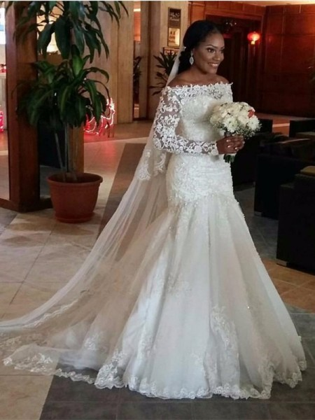 Trumpet Off-the-Shoulder Long Sleeves Lace Sweep/Brush Train Tulle Wedding Gown