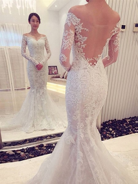 Trumpet Off-the-Shoulder Long Sleeves Lace Chapel Train Wedding Gown