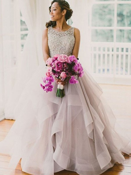 Ball Gown Sleeveless Scoop Beading Floor-Length Tulle Bridal Dress