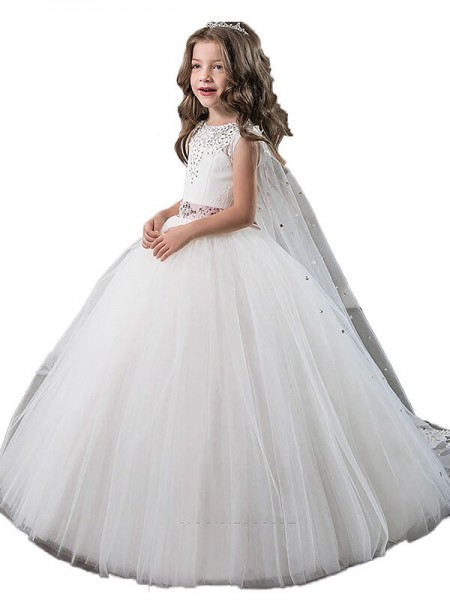 Ball Gown Jewel Beading Floor-Length Tulle Flower Girl Dress