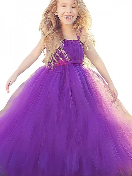 Ball Gown Straps Bowknot Floor-Length Tulle Flower Girl Dress