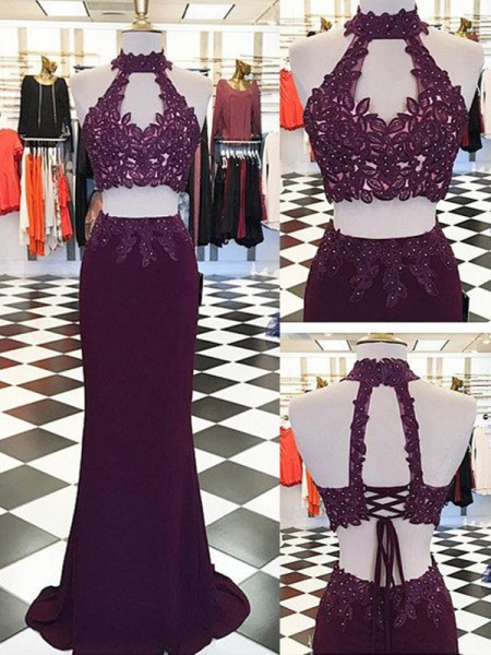 Sheath Halter Applique Floor-Length Spandex Two Piece Formal Dress