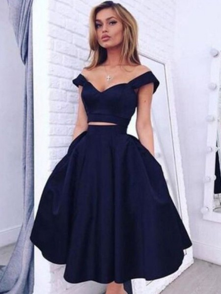 Fashion A-Line/Princess Tea-Length Off-the-Shoulder Satin Two Piece Dress