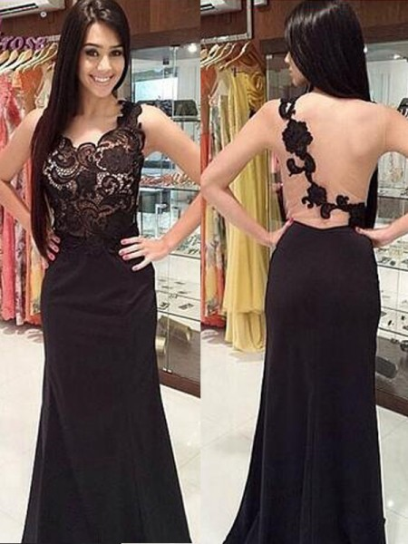 Sheath/Column Scoop Lace Floor-Length Chiffon Dress