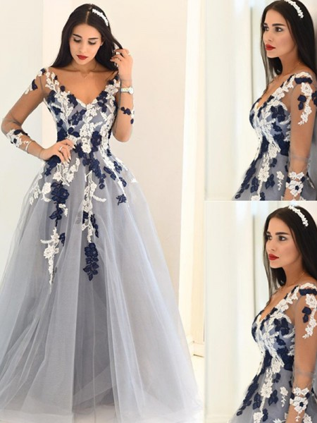 A-Line V-Neck Long Sleeves Applique Tulle Floor-Length Evening Dresses