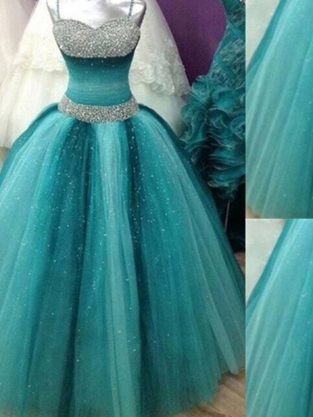 Ball Gown Spaghetti Straps Beading Tulle Floor-Length Evening Gown