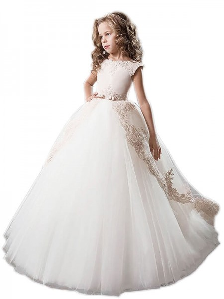 Ball Gown Scoop Tulle Applique Floor-Length Flower Girl Dress