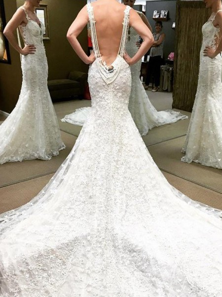 Ball Gown Short Sleeves Cathedral Train Off-the-Shoulder Lace Wedding Dresses