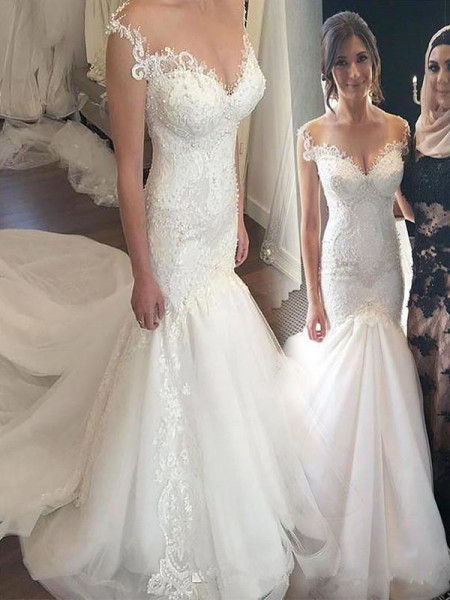 Trumpet/Mermaid Off-the-Shoulder Chapel Train Lace Tulle Sleeveless Wedding Dresses