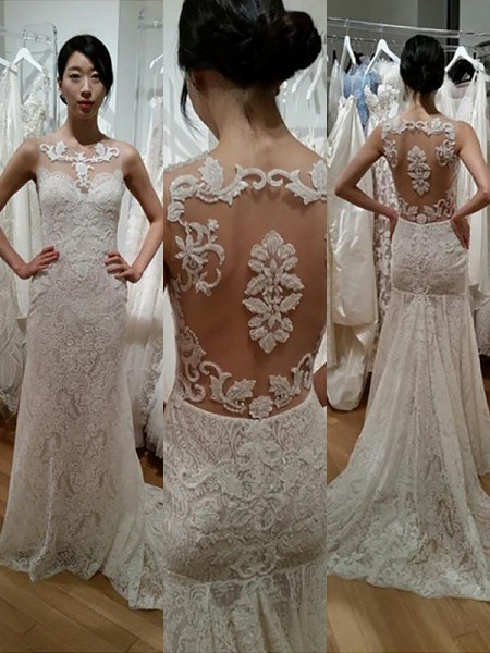 Trumpet/Mermaid Lace Scoop Sleeveless Sweep/Brush Train Wedding Dresses