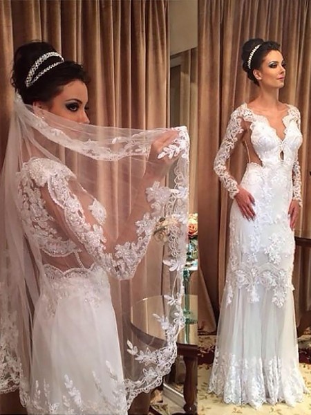 Sheath/Column Tulle Long Sleeves V-neck Sweep/Brush Train Wedding Dresses