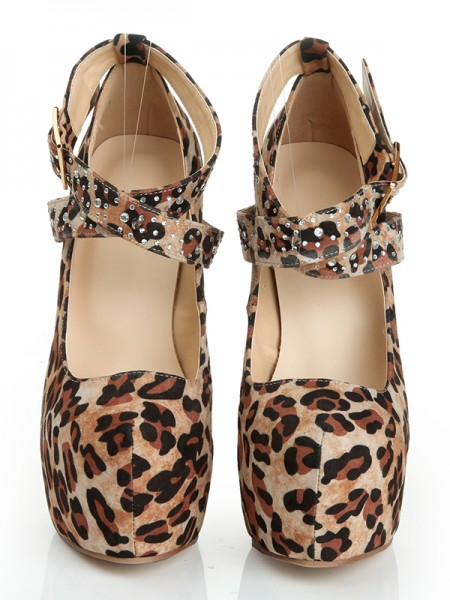 Leopard Print Suede Round Toe High Heels With Lace Up