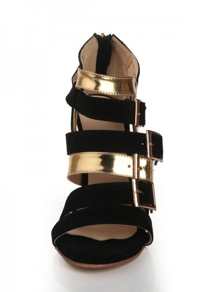 Flock Buckle Sandals High Heels