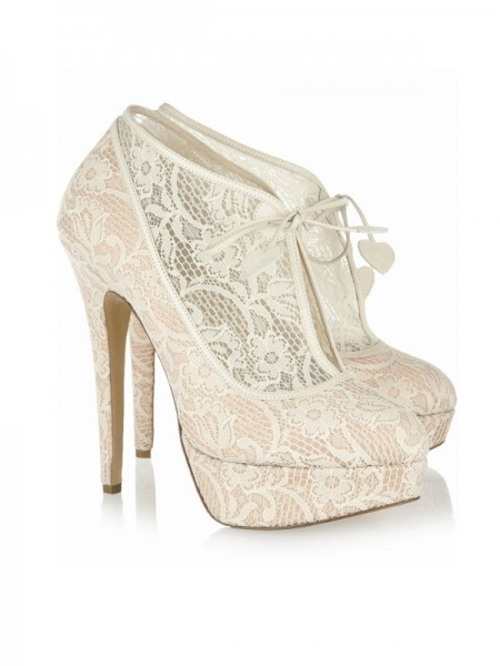 Women's Lace Stiletto Heel Closed Toe Platform Wedding Champagne Boots