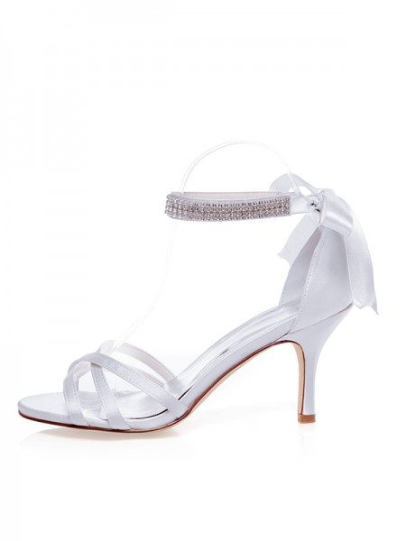 Women's Satin Peep Toe Stiletto Heel Silk Wedding Shoes