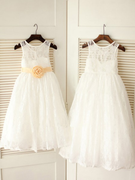 Princess Scoop Sleeveless Sash/Ribbon/Belt Ankle-length Lace Little Girl Dress