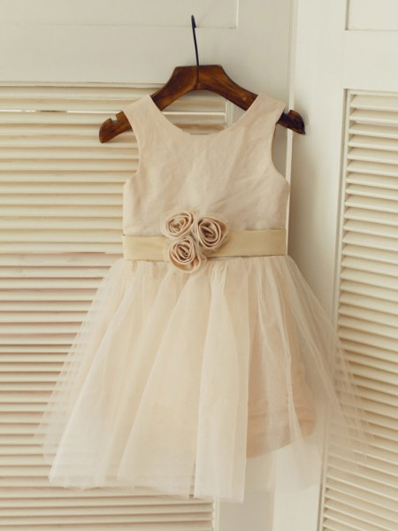 Cute Princess Scoop Sleeveless Sash/Ribbon/Belt Tea-length Tulle Little Girl Dress