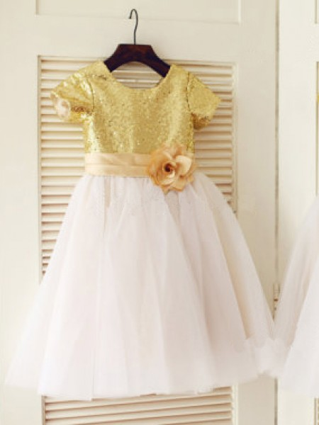 Princess Scoop Short Sleeves Sequin Knee-Length Tulle Little Girl Dress