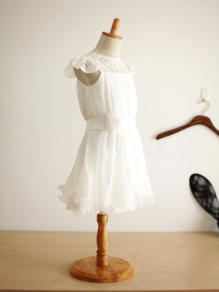 Cute Princess Scoop Sleeveless Hand-Made Flower Knee-Length Chiffon Flower Girl Dress
