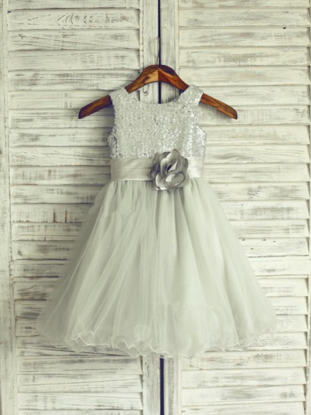 Princess Scoop Sleeveless Hand-Made Flower Knee-Length Organza Girl Dress